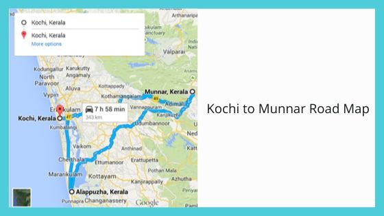 Kochi to Munnar Road Map