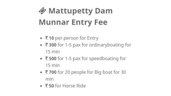 entry fee of mattupetty dam munnar kerala