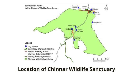 location of chinnar wildlfe sanctuary munnar